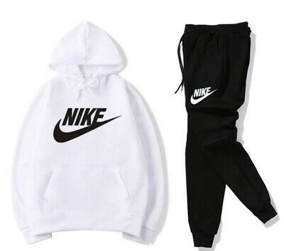 Mens Nike 2 Piece Black And White Sweat Suit Hoodie Jacket And Pants Fashion Clothing Shoes Accessories Men In 2020 Nike Shirts Women Nike Clothes Mens Sweatsuit