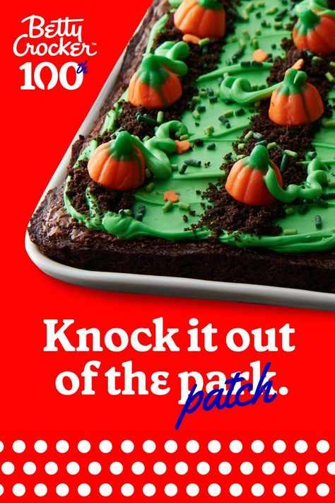 No pumpkins were smashed to make these delectable, smash-hit Pumpkin Patch Brownies. Even if you did crush it.