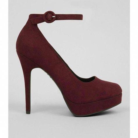 d7f76f67f5ae High Fashion Designer Heels  highfashiondesignerhighheels. Dark Red  Suedette Platform Court Shoes ( 39) ❤ liked on Polyvore featuring shoes
