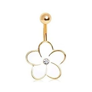 Gold and White Flower Belly Button Ring