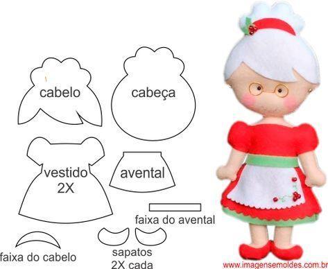 Paps E Moldes De Artesanato Feltro Natal Padroes De Boneca De