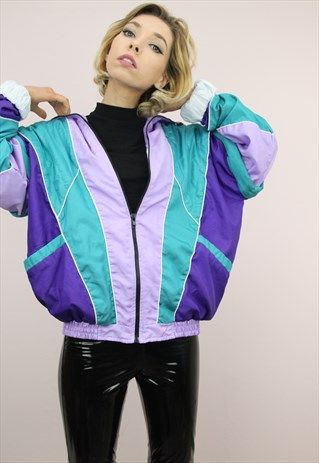 Pin On Slush Vintage 80s 90s Colourful Shell Suit Windbreaker Jackets Retro Wavey Patterned