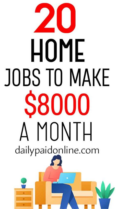 20 Home Jobs To Make $8000/Month Working From Home Online Free Fast Remote Side Jobs