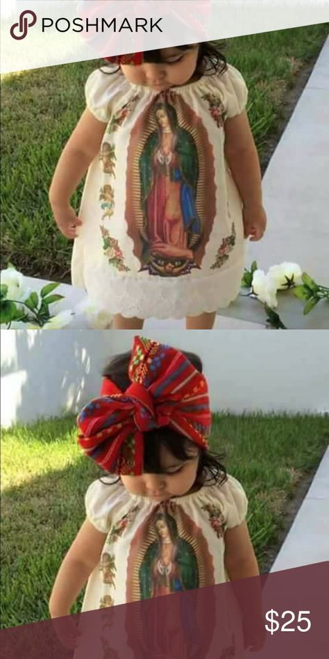 3b2fe5339ac Baby & Girls Dress 2pc Set Our Lady of Guadalupe Just in! Beautiful Dress  with the print of Our Lady of Guadalupe! Comes with a customizable headband  ...
