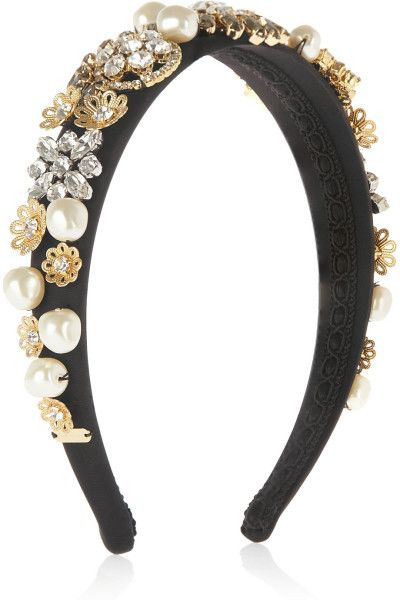 Black silk-satin Faux pearl and clear and gray crystal embellishment, gold-tone brass floral filigree, grosgrain-trimmed interior
