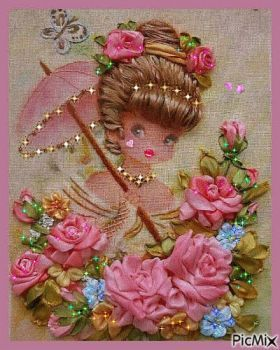 ribbon embroidery (48 pieces)