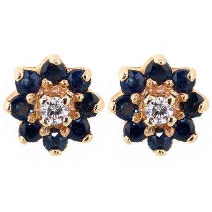 Round Sapphire & Diamond Stud Earrings