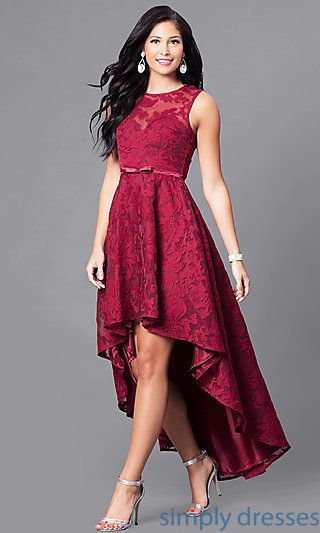 f6922447ad79 Shop high-low party dresses at Simply Dresses. Sleeveless semi-formal lace  dresses with sweetheart linings and back keyholes for homecoming parties.