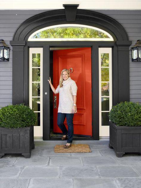 Door: blazer by Farrow & Ball, Gray siding: Smoke gray BM, trim: White blush and black BM