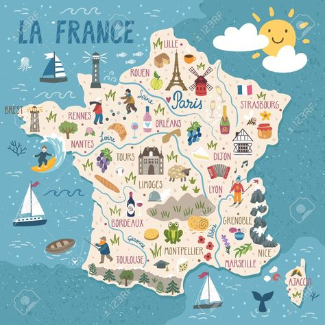 Vector stylized map of France. Travel illustration with french..