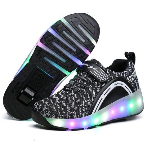 Pink 1 Wheel 42 M EU//8 M US Big Kid FG21ds21g Kids Roller Skates LED Light Up Sneaker Single//Double Wheel Luminous Shoes Boys Girls