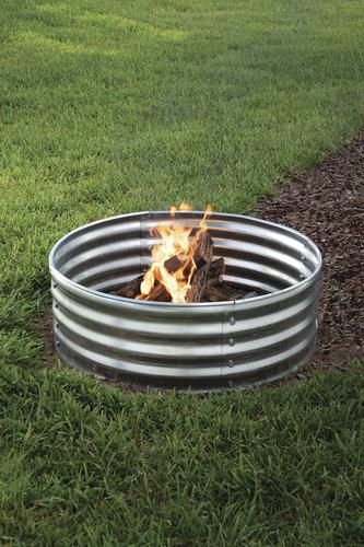 Backyard Creations 36 Galvanized Steel Fire Ring Concrete Fire Pits Backyard Creations Outdoor Fire Pit