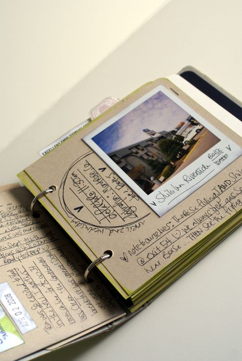 Roadtrip Journal (like the little binder and storage binders). Work on your travel journal while on the road. Shows what supplies you can bring, etc.