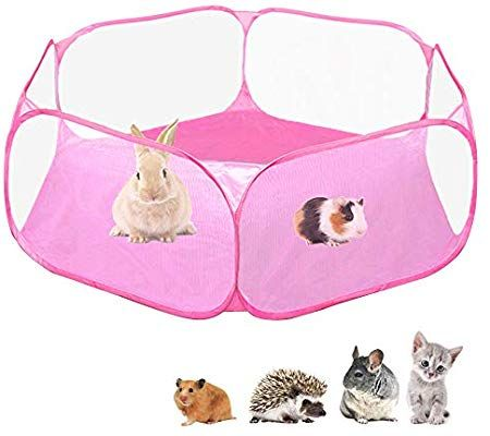 Amazon Com Amakunft Small Animals C C Cage Tent Breathable Transparent Pet Playpen Pop Open Outdoor Indoor Exerci Pet Playpens Small Pets Small Animal Cage