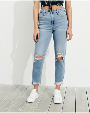 Hol Stretch Ultra High Rise Slim Straight Ankle Jeans Jeans Rectos Pano Jeans
