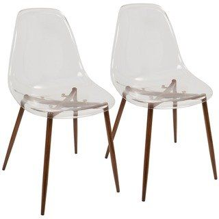 Enjoyable Clara Mid Century Modern Dining Chairs Set Of 2 Clear Ncnpc Chair Design For Home Ncnpcorg
