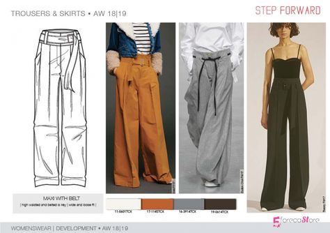 FW 208-19 Trend forecast: MAXI WITH BELT pants, high waisted and belted is key, wide and loose fit, development designs by 5forecaStore Fashion trend forecasting.