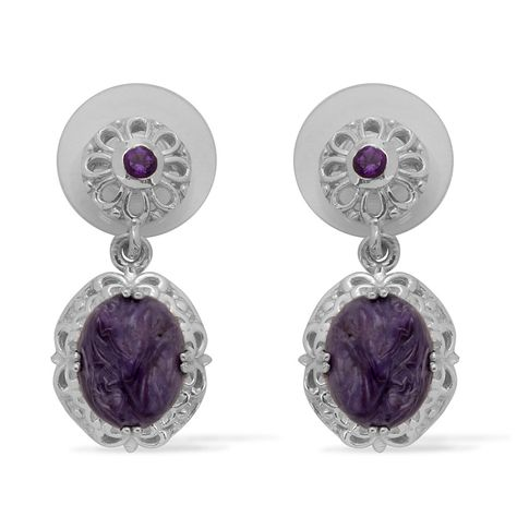 Liquidation Channel: Siberian Charoite and Amethyst Earrings in Platinum Overlay Sterling Silver (Nickel Free)