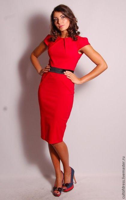 804e641d7b8de3c Платья ручной работы. Ярмарка Мастеров - ручная работа. Купить Платье в  офис. Handmade. Ярко-красный, платье футляр