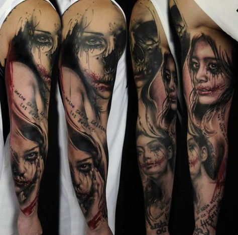 e3cb378f095a7 Girls portrait full sleeve tattoo - 95 Awesome Examples of Full Sleeve  Tattoo Ideas <3 <3