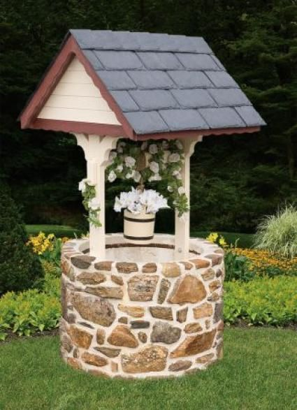 wishing well, I can do this with my leftover rock from facing my  porch!!!!!! | gardening | Pinterest | Porch, Rock and Face
