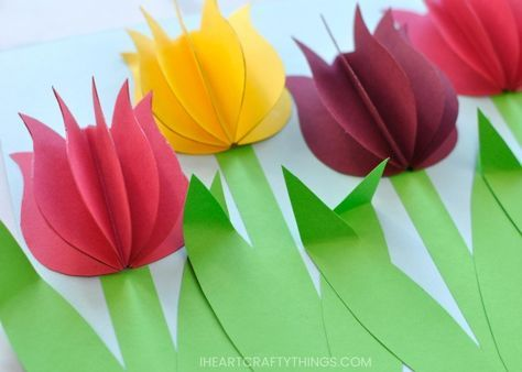 Gorgeous 3d Paper Tulip Flower Craft Spring Flower Crafts Spring Crafts For Kids Flower Crafts
