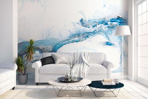 High quality repositionable removable self adhesive wallpaper/Modern abstract ink pattern