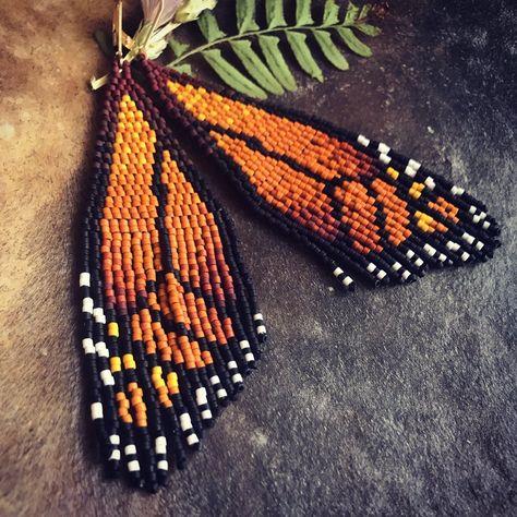 Made to Order Monarch Woven Wings Beaded Earrings Patterns, Seed Bead Patterns, Beading Patterns, Beaded Earrings Native, Beading Tutorials, Bracelet Patterns, Beaded Bracelet, Seed Bead Jewelry, Seed Bead Earrings