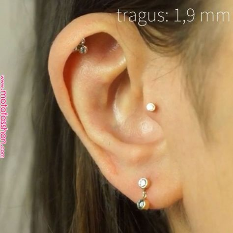 £158.00 – £180.00 Genuine diamond cartilage piercing earring handmade from 18k yellow gold, and polished to a mirror shine. | Tattoes in 2019 | Tragus