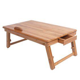 Home Folding Laptop Table Wood Desk Adjustable Computer Desk