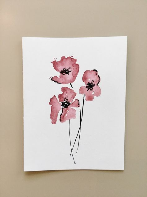 Flower Watercolor Greeting Card Hand Painted Card Handmade