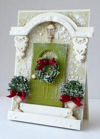 Przewrotnie - trochę zimy i moje marcowe drzwi, które stanowią element składowy tworzącej się serii kartek świątecznych na sezon 2016. ...