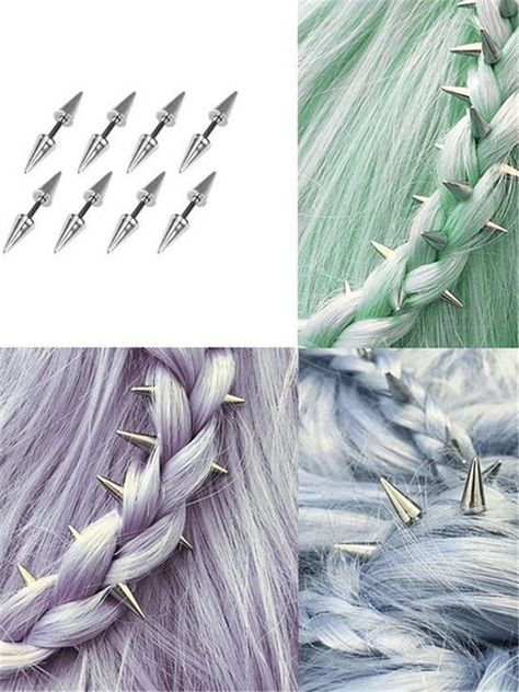 Spike hair decorations (love these! Medium Scene Hair, Hair Medium, Phoenix Hair, Grunge Hair, Hair Dos, Pretty Hairstyles, Updo Hairstyle, Wedding Hairstyles, Hair Jewelry