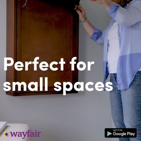 Effortlessly create your dream home with the Wayfair app. This space-saving trick gets the job done! A clever fold-up desk turns any small space into a convenient study corner or home office, and only takes up a fraction of the floor space. Install today for great finds for your home.