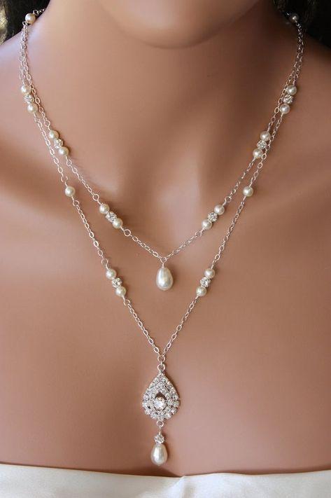 Statement boho drop y dangle Bib Fashion Modern silver grey necklace Bead chain birthday wedding summer anniversary gift