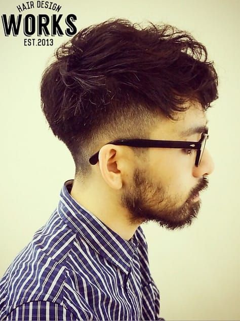 メンズ外国人風シルエット刈り上げパーマショートヘアー Works Hair