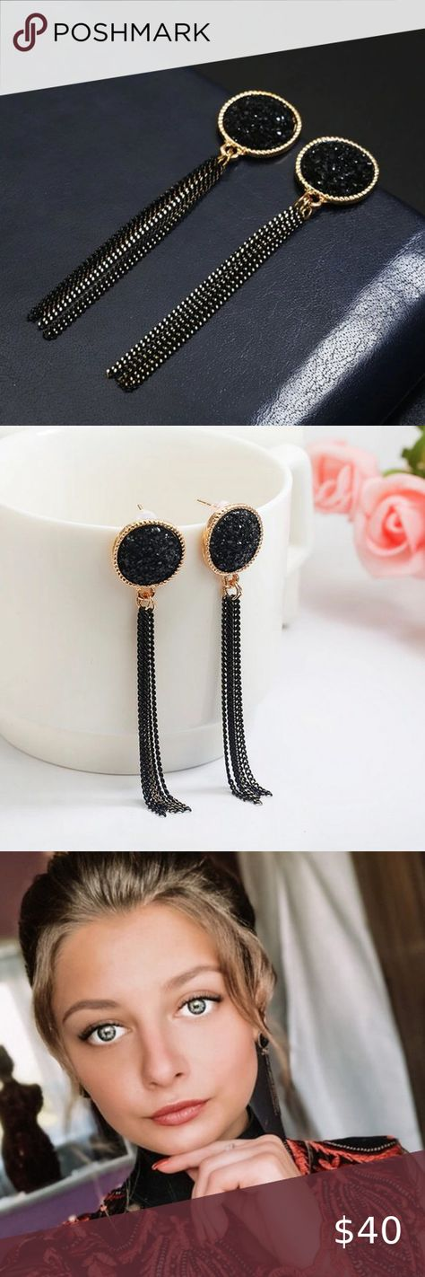 Check out this listing I just found on Poshmark: Black  Gold Chain Drop Earrings for Women. #shopmycloset #poshmark #shopping #style #pinitforlater #Jewelry