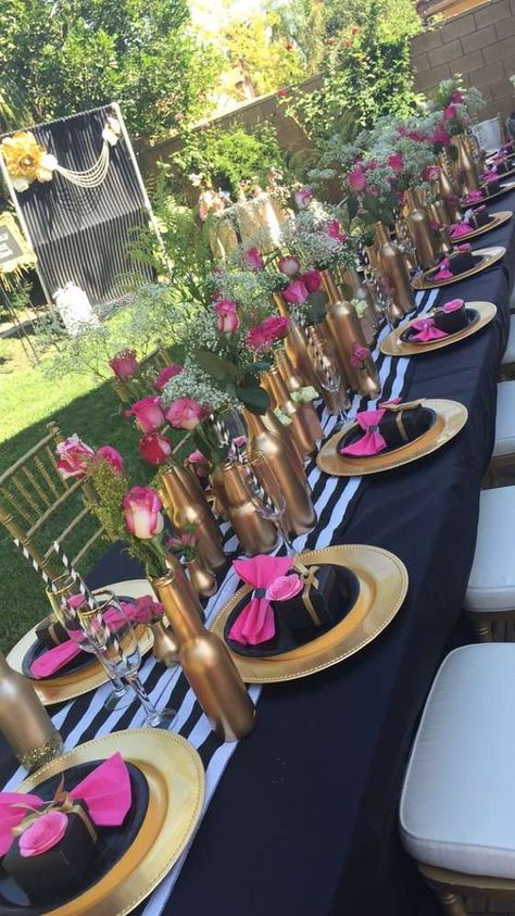Kate Spade Bridal/Wedding Shower Party Ideas Photo 1 of 18 Kate Spade Party, Kate Spade Bridal, Bridal Shower Flowers, Bridal Shower Decorations, Bridal Shower Colors, Pink Decorations, Elegant Party Decorations, Bridal Shower Tables, Bridal Shower Party
