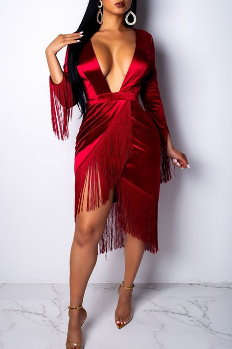 Lovely Sexy Tassel Design Red Knee Length Dress_Dresses_LovelyWholesale | Wholesale Shoes,Wholesale Clothing, Cheap Clothes,Cheap Shoes Online. - LovelyWholesale.com