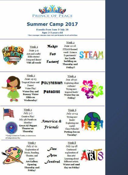 Prince Of Peace Preschool Summer Camp Summer Camp Registration