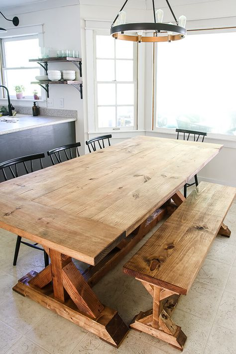Restoration Hardware Inspired Dining Table – Living Letter Home – Farmhouse table diy Farmhouse Table Plans, Farmhouse Dining Room Table, Dining Table With Bench, Rustic Table, Wood Tables, Dyi Farm Table, Farm House Tables, Farm Table Plans, Shabby Chic Kitchen Table
