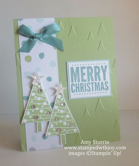 SU! Festival of Trees and Merry Everything (sentiment) stamp sets; Tree punch; All is Calm DSP; Silver Glimmer paper; colors are Pear Pizzazz and Soft Sky - Amy Storrie