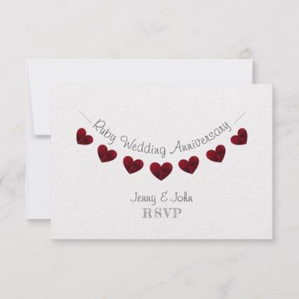 40th Ruby Wedding Heart Anniversary Rsvp Card Zazzle Com