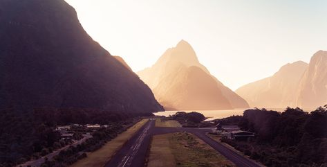 Here's a quick photo I took when we stopped to refuel at the tiny little airport in Milford Sound / Piopiotahi. #TreyRatcliff #Landscape #Runway #NewZealand #MilfordSound #Sunset