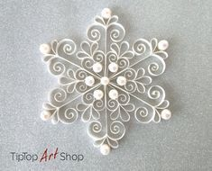 White Quilled Christmas Snowflake Ornament with Pearls Budget   Etsy