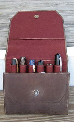 Durable Pencil Pen Holder for Office Work Men/'s Leather Pocket Protector Brown