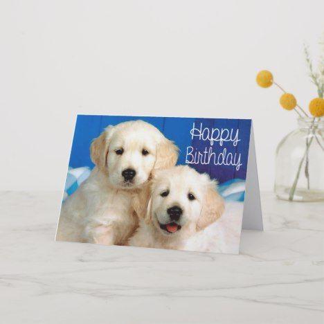 Happy Birthday Golden Retriever Puppy Dog Card Zazzle Com