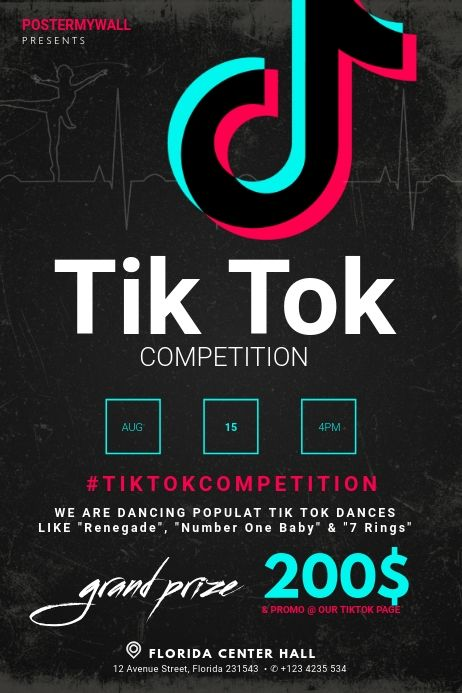 Tik Tok Dance Competition Flyer Template Postermywall Contest Poster Poster Competition Event Poster Template