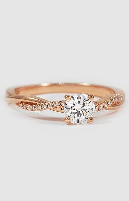 14k Rose Gold Petite Twisted Vine Diamond Ring Wedding Rings