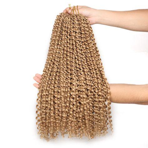 24 Inch Passion Twist Hair Water Wave Crochet Braids Hair Synthetic Long Bohemian Locs Hair - 27# / 3PCS